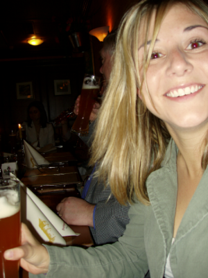 Marcela drinking at the beer hall