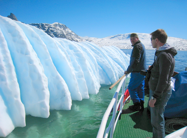 We sailed by icebergs and scooped the ancient ice