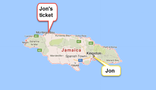 My ticket was across the island of Jamaica