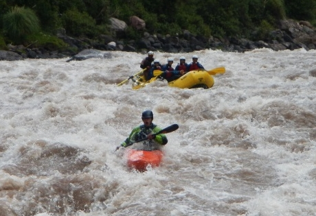 Riding the rapids on the Urubamba river