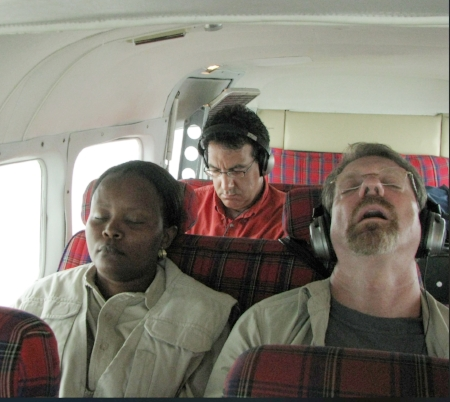 Asleep on the plane in Kenya