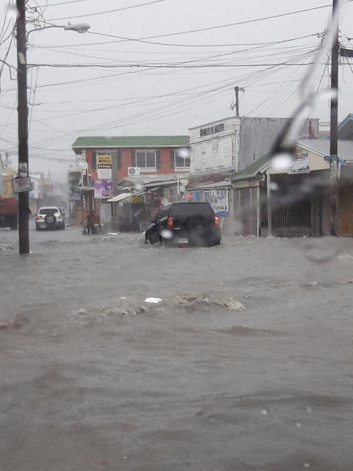 Flooding in Antigua's Capital (Twitter: @drej1986)