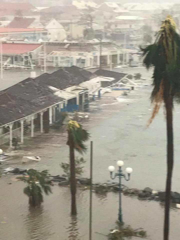 Marigot Port Of Entry submerged in St Martin