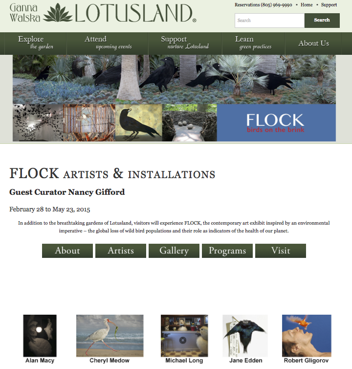 February 28, 2015 - A few of my prints from the  Envisioning Habitat  series were included in the Flock: Birds On The Brink exhibition, guest curator Nancy Gifford at Ganna Walska Lotusland in Montecito, California.