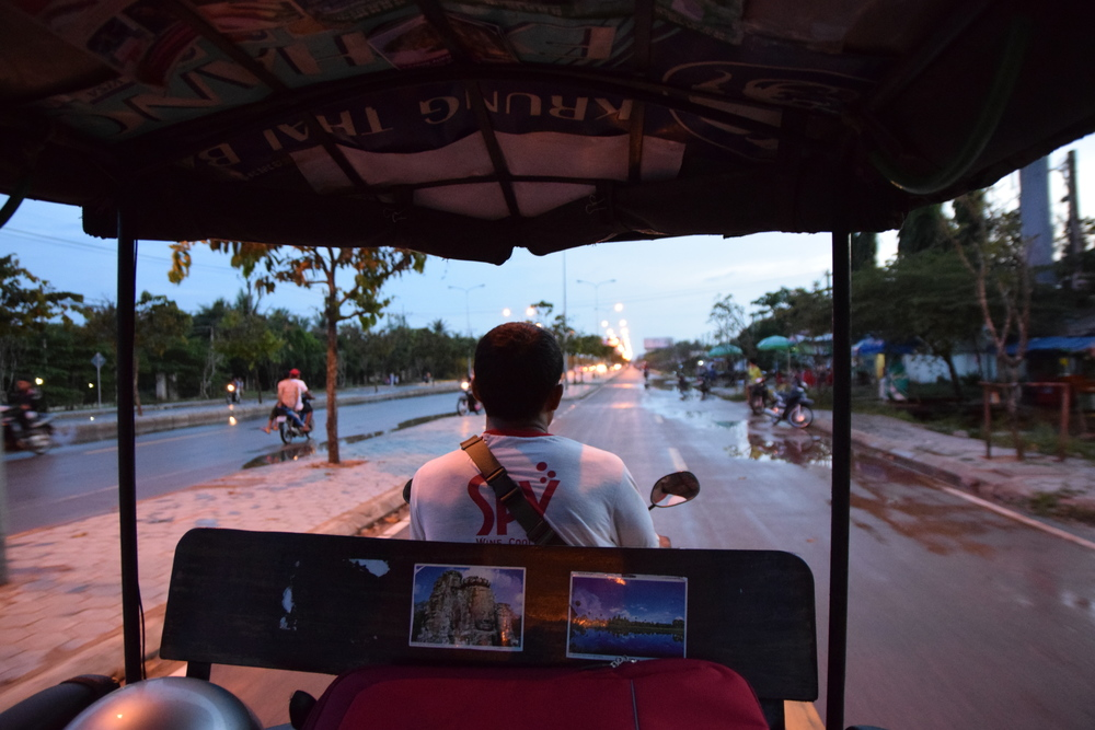 Riding the wet streets of Siem Reap