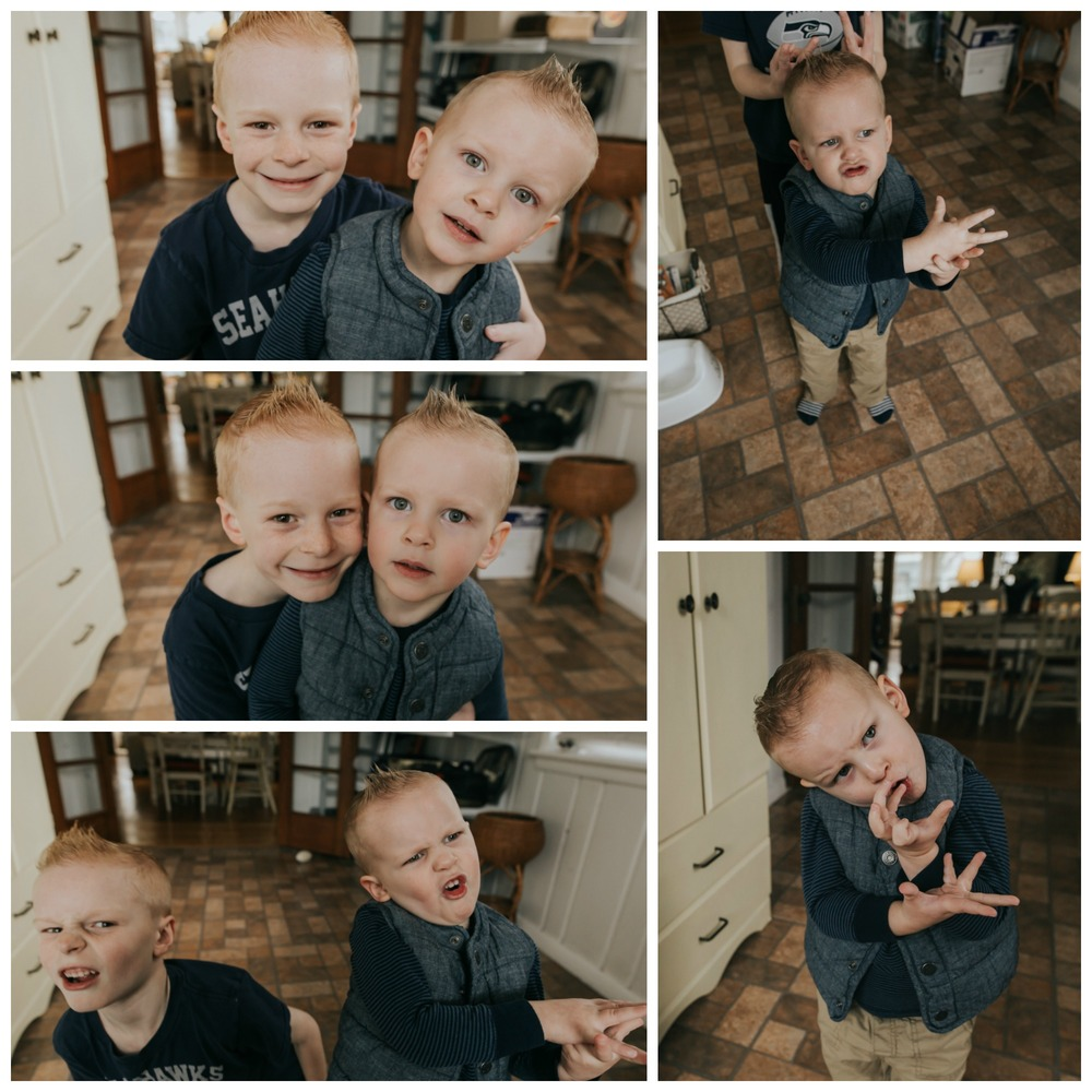 "My favorite little buddy turned 7 this month.  This was his birthday morning.  Little man is making all sorts of ""funny faces"" for the camera now.  He asks to see the back of the camera and cracks up at himself."