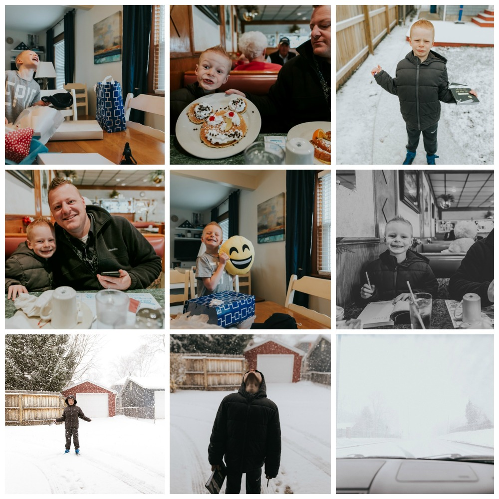 Birthday happenings.  We had a big snowstorm in April.  Several inches fell in the morning and melted by mid-afternoon.