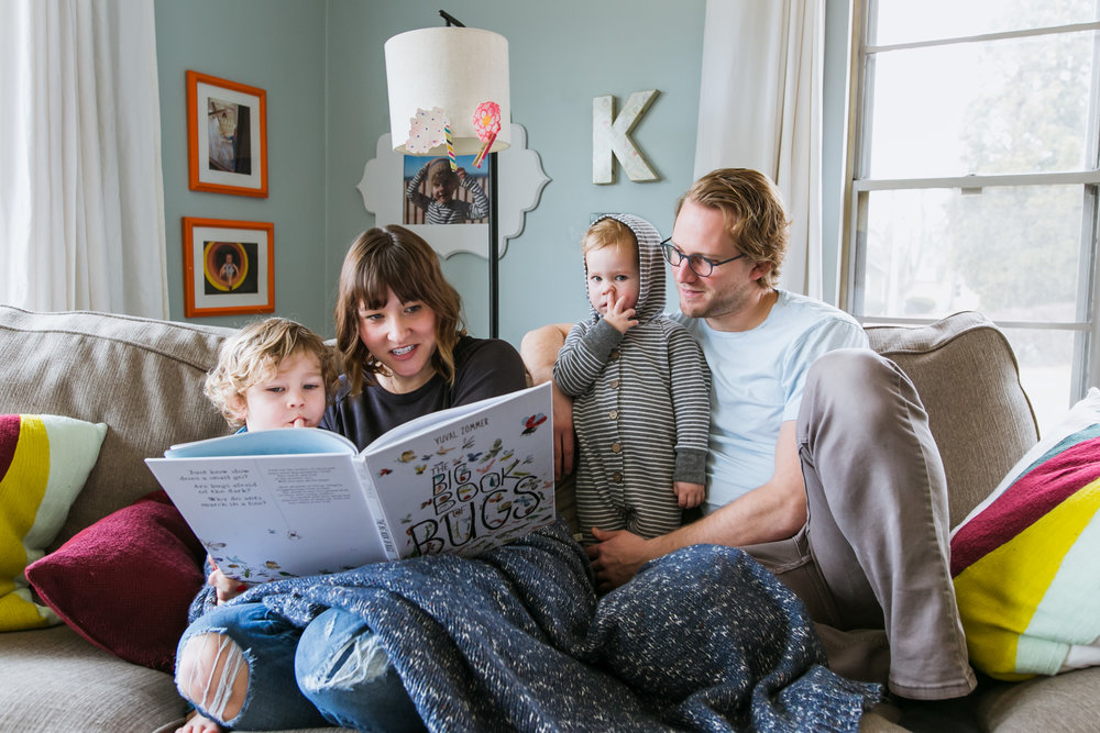 family reading about bugs, family film session mishawaka