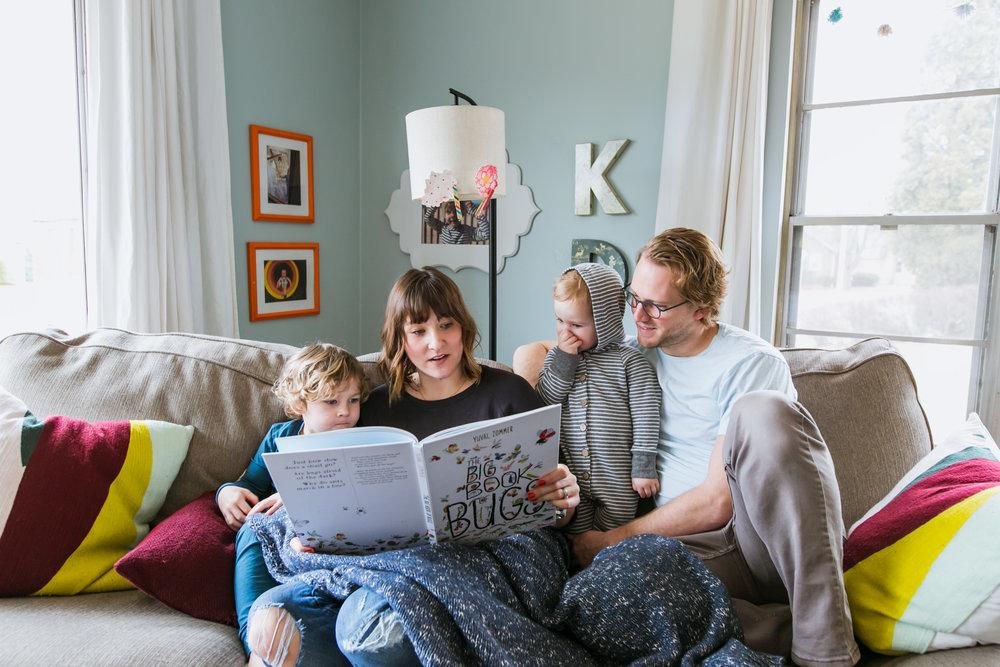 family reading before nap time, family film session mishawaka