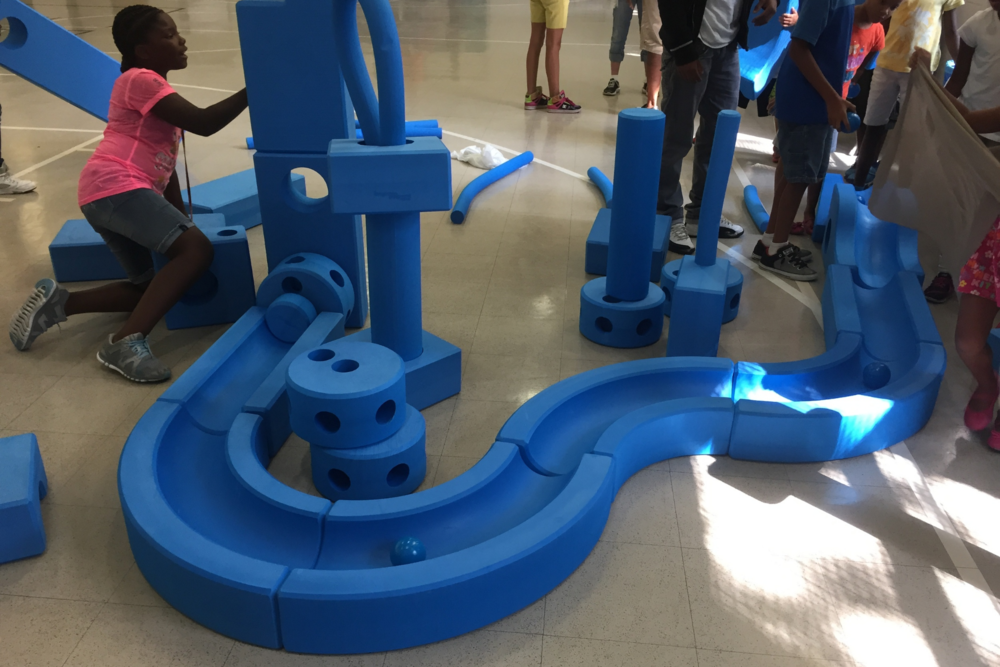 Imagination playgrounds being assembled in summer 2015