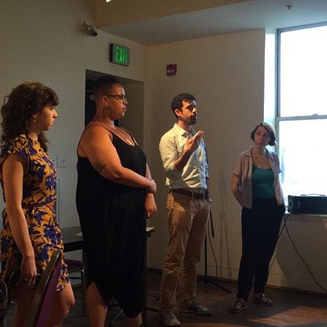 Fellows present action plans at the Race & Equity Celebration. From left:  Jen Schachter ,  Charlotte James ,  David Rodwin  and  Sarah MacFadden .