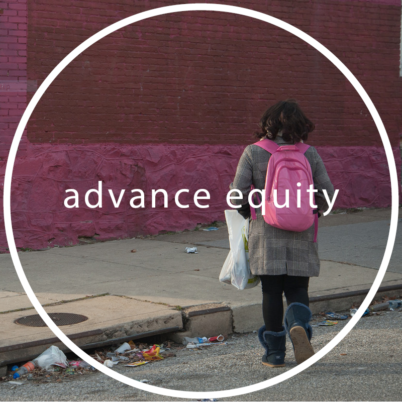 By naming, interrogating and dismantling unjust systems, as well as by building new solutions to persistent challenges, we can realize our shared vision of an equitable Baltimore