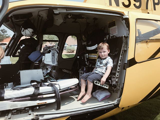 "He was sooo excited to sit in a helicopter. 😆The entire time we were in line ""My turn mom, my turn??"" 🚁🚁🚁"