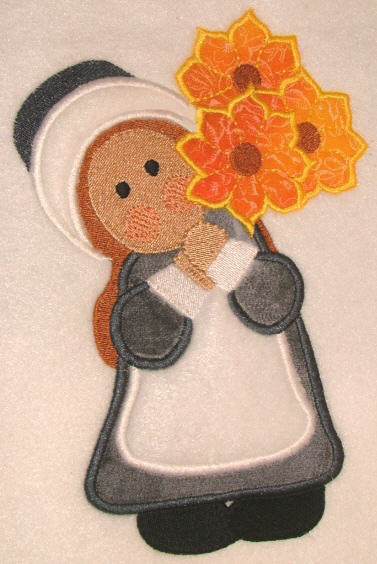 Pilgrim Girl with flowers pic