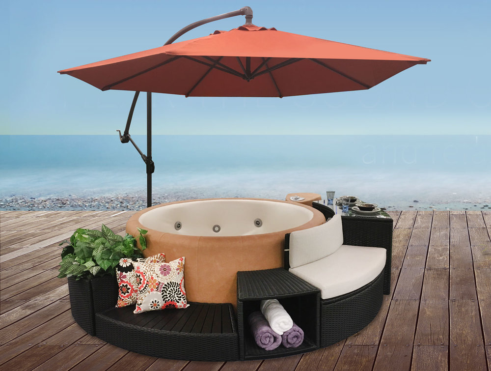 5 Piece Rattan Surround with Spa Side Umbrella