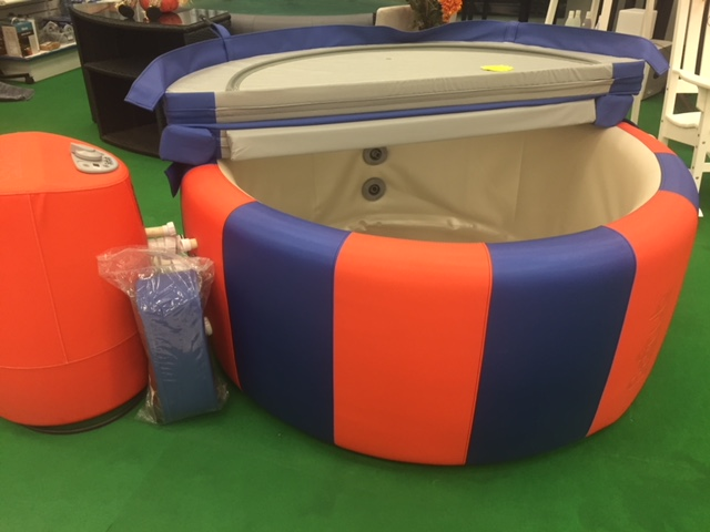 T140 One-of-a-kind Custom Blue & Orange Tub. - Show Your Team Spirit!MSRP $4195Save Hundreds with our Demo Price! Call or live chat with us to learn more!