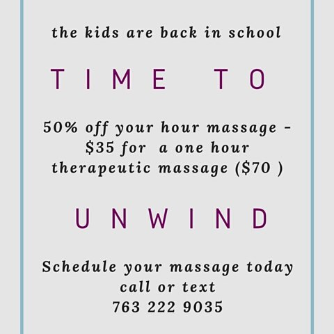 Send those kids back to school and take time for you! Get a massage half off the first two weeks of September! #massage #minnesota #rosevillemn #stpaul #minneapolis #backtoschool