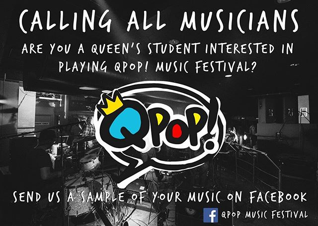 QPOP 2016 is looking for some great new, good energy Queen's bands to play! We're really interested in hearing some of your music, so send it along. Don't miss out on this great experience to play alongside some top bands in the Canadian music scene!