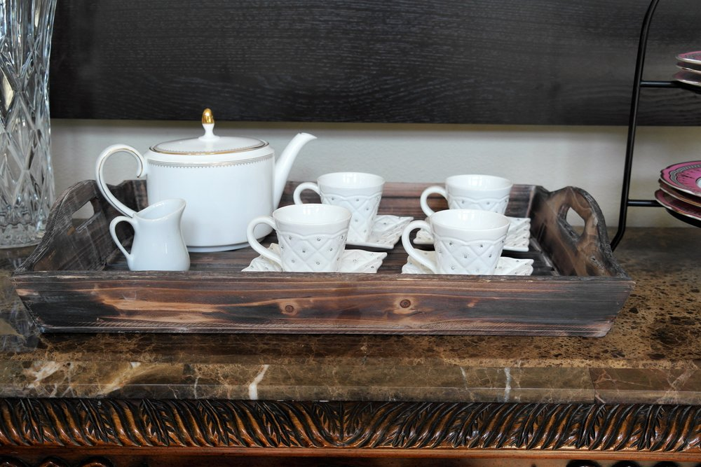 Rustic Tray similar    Here    | Vera Wang Teapot        Here