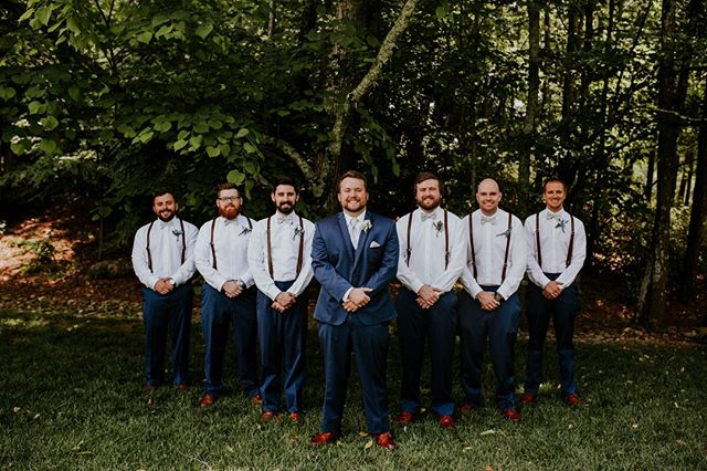 The squad's all here!  #groom #groomsmen #tuxedo #suspenders #chattanoogawedding #clevelandwedding #blackfoxfarms