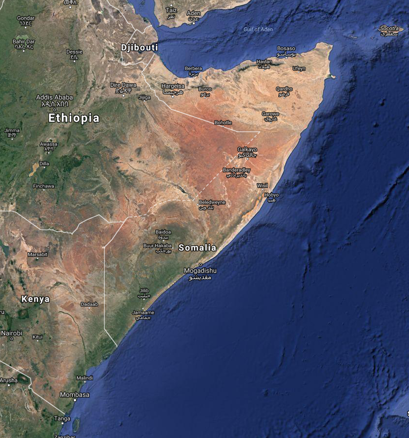 Eastern african archaeology online somalia including somaliland somalia google earth map locationg sciox Images