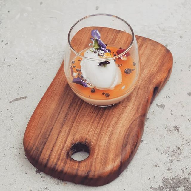 Vanilla bean and lime Panna Cotta with passionfruit jelly, chocolate soil and coconut and kaffir lime sorbet. #dessertspecial #darleystreetbistroclovelly #pannacotta #passionfruit #delicious