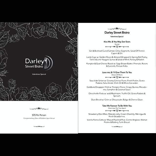 Treat your special someone to a romantic dinner @darleystreetbistro on this Valentine's Day. Enjoy a glass of bubbles on arrival followed by our 3 course special menu. For booking and inquiries please call us on 80682182 or visit our website www.darleystreetbistro.com #darleystreetbistroclovelly #valentinesday2019 #romanticdinner