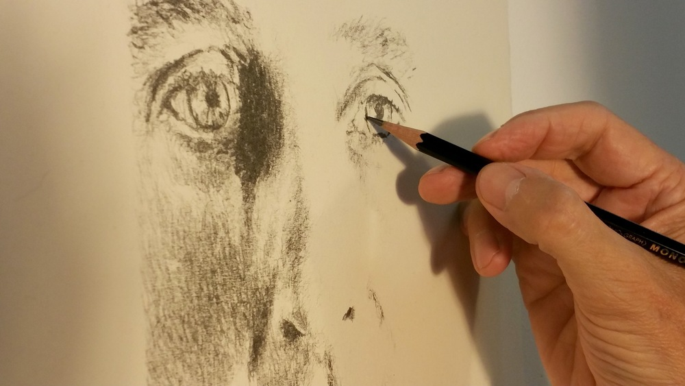 Kent drawing a Study of Ed Ruscha