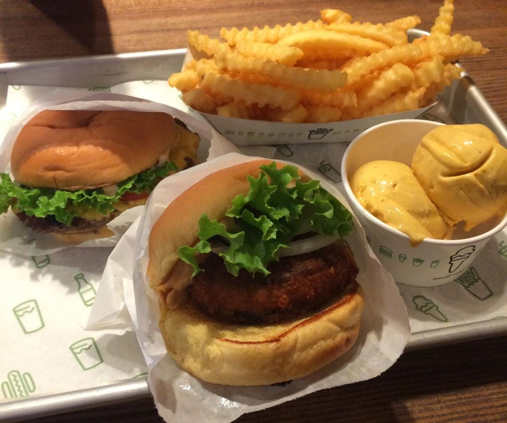 ShackBurger, Shroom Burger, Fries, & Pumpkin Pie Custard