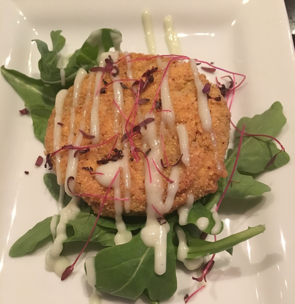 Fried Green Tomato with wasabi aioli
