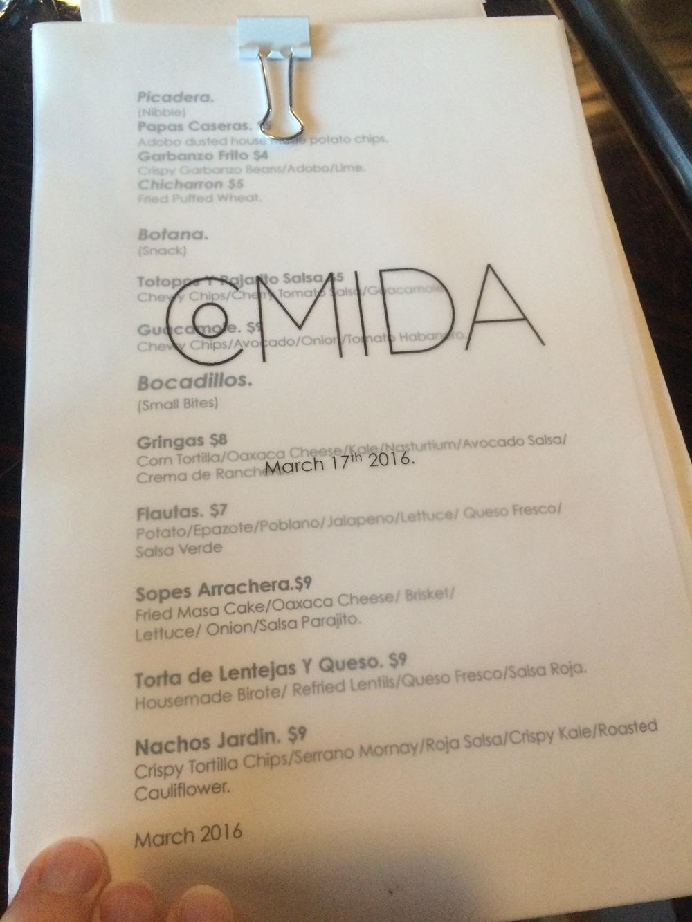 Novel of a menu