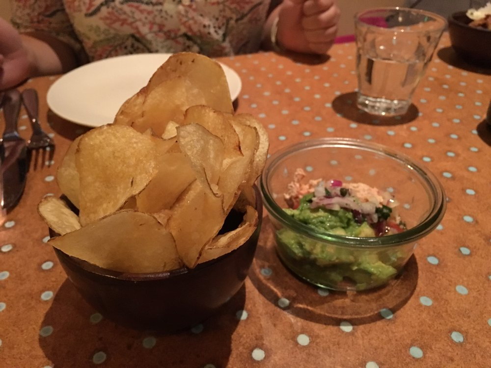 Potato chips & smoked trout with avocado dip