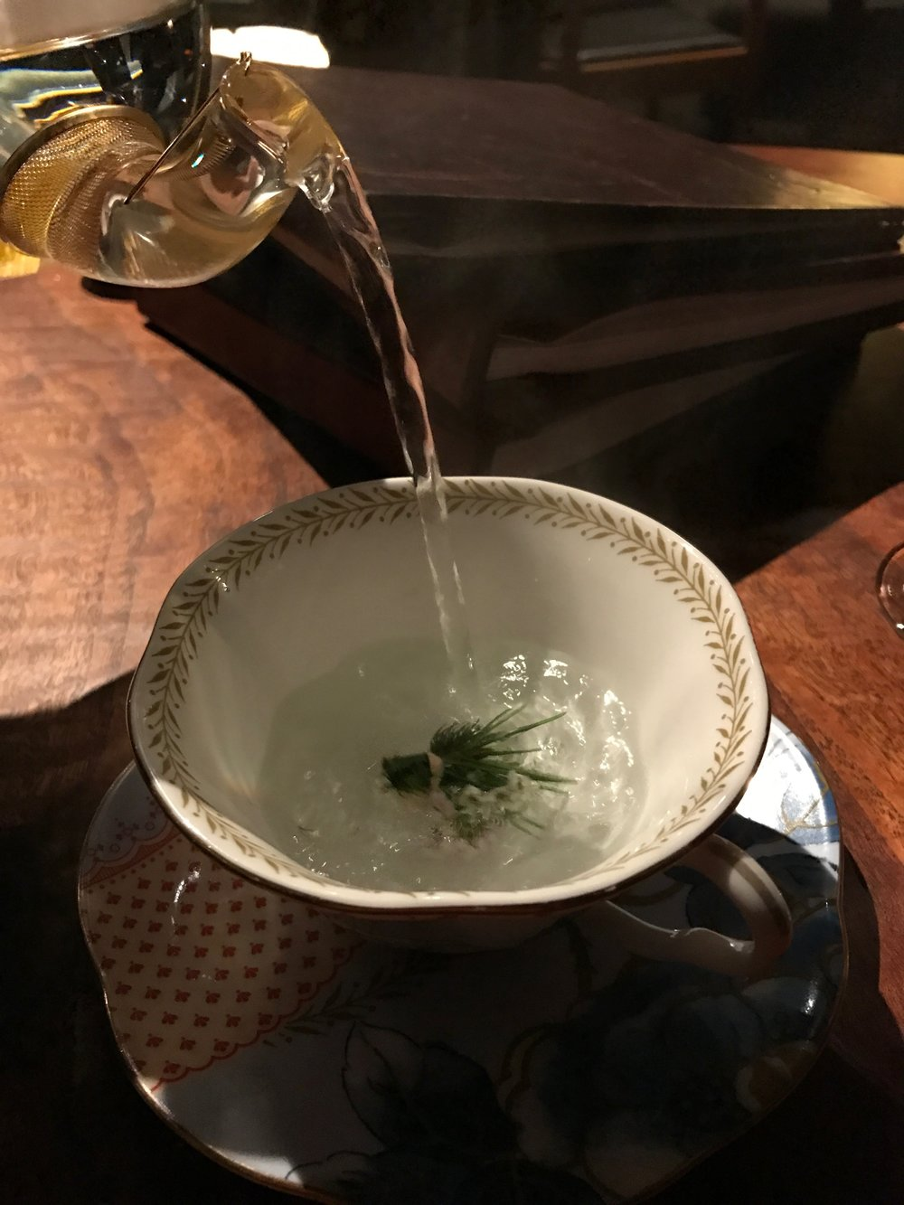 Infusion of herbs from our garden - Starting with an herbal infusion is a lovely and light way to begin; it forces you to breathe deeply and focus on the meal that's about to come. The practice feels meditative and lovely, and more restaurants should adopt teas and nonalcoholic infusions as an accompaniment to food.