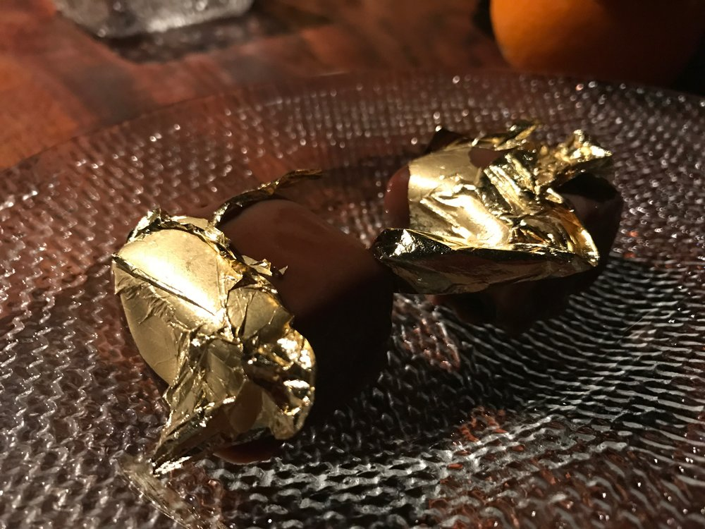 Gold-Leaf Dipped Chocolates - Gold-leaf dipped chocolates were also brought out with this course--talk about a grand finale!