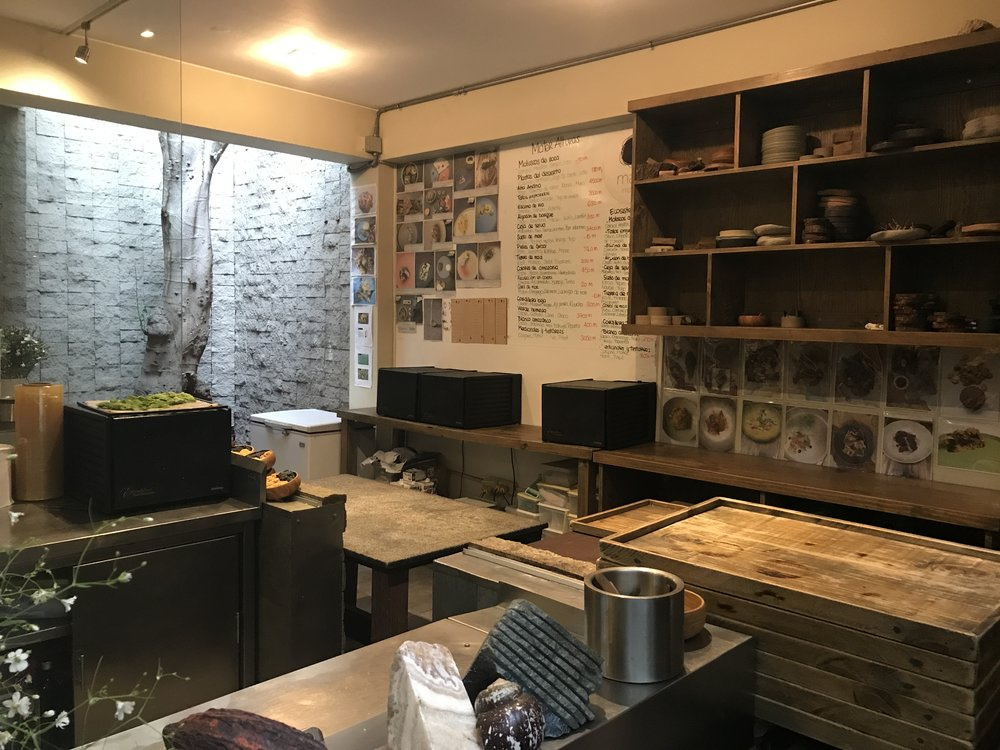 Part of the learning kitchen, where they train chefs from around the world how to make the menu.
