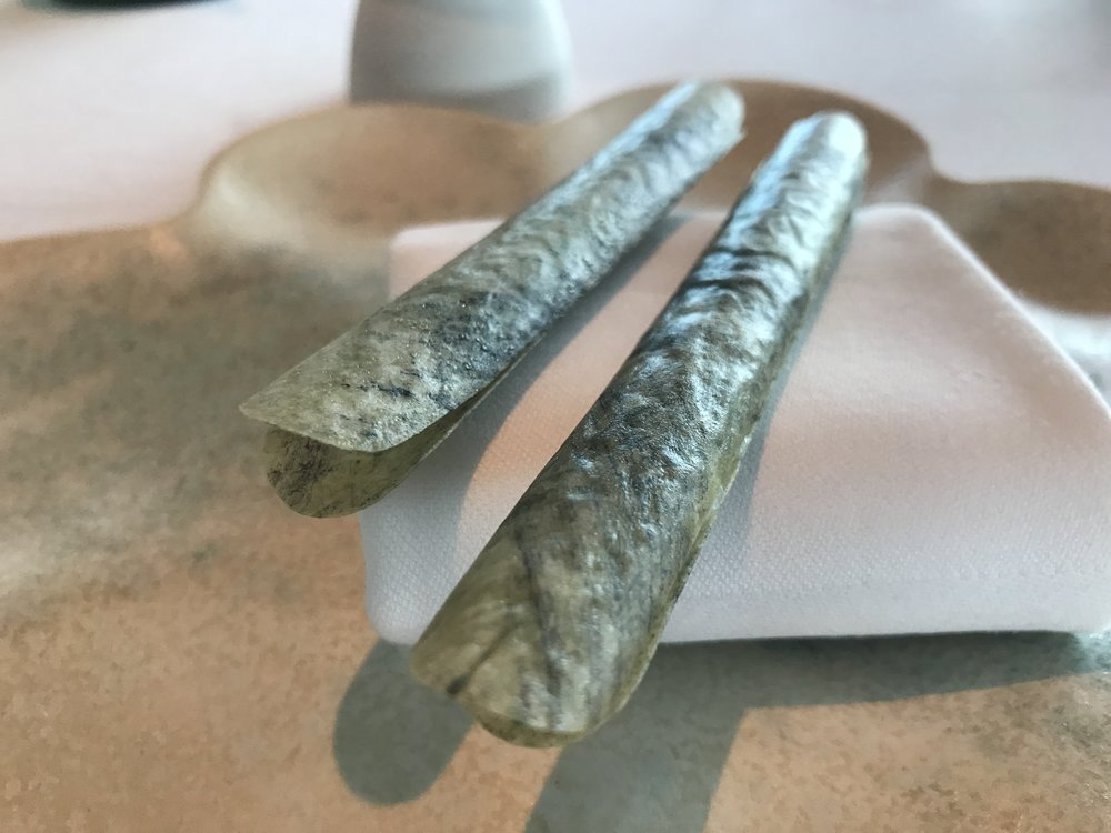 Razor Clams with Minerals & Sour Cream - The signature dish of Geranium. The rumor is this took Rasmus over six years to perfect. In his book, One Day at Geranium Restaurant (which we absolutely purchased), Rasmus calls this the,