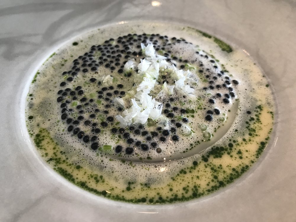 Salted Hake, Parsley Stems, & Finnish Caviar in Buttermilk - Our favorite dish of the day. Cold flattened and salted hake covered in a warm buttermilk filled with Finnish caviar. Is there anything better in the world than warm caviar on a great fish? I don't think so.