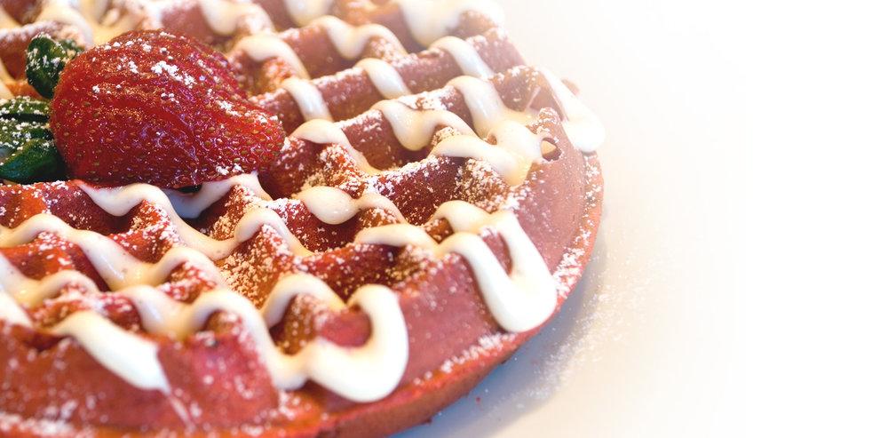 The famous red velvet waffle/image courtesy of  Terrace Cafe
