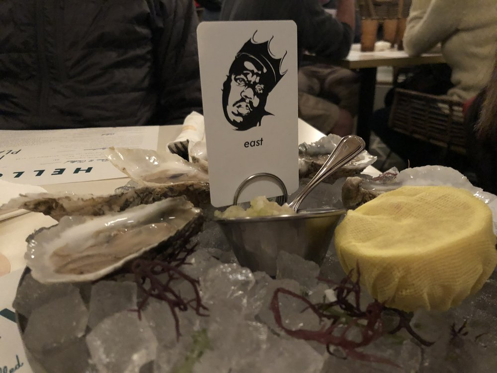 Oysters - East vs West coast, fernet mingonetteGood oysters--super fresh and the mingonette had a strong acidic bite. Loved the signs designating these as East Coast oysters with the Biggie pic--cute (and v. hardcore, obviously).
