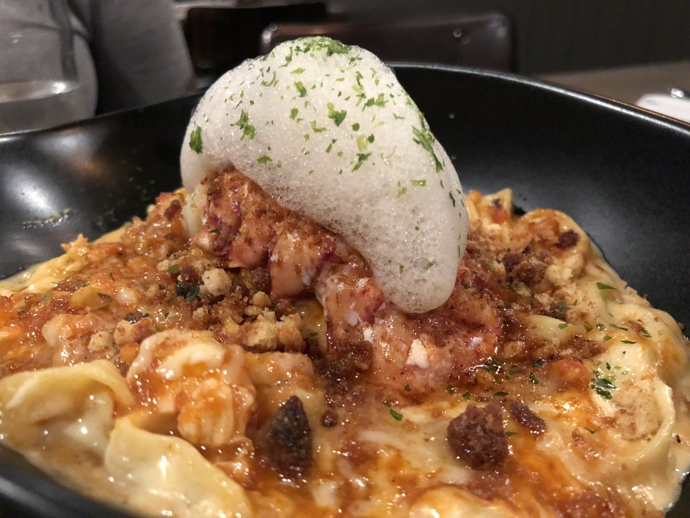 Maine Lobster Mac & Cheese  - House-made fettuccine, uni bechamel, truffle froth, brioche crumbs, bacon-poached lobster tail One of our favorites--we were licking the bowl. Can you blame us?