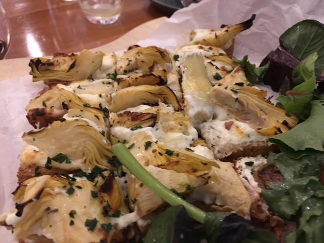 Bruschetta - Roasted artichoke with garlic cream cheese