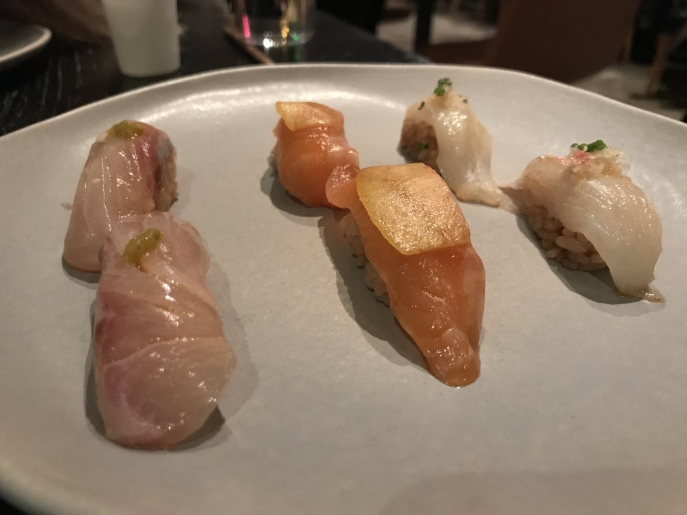 Assorted Nigiri - Including steelhead trout with peach (middle)