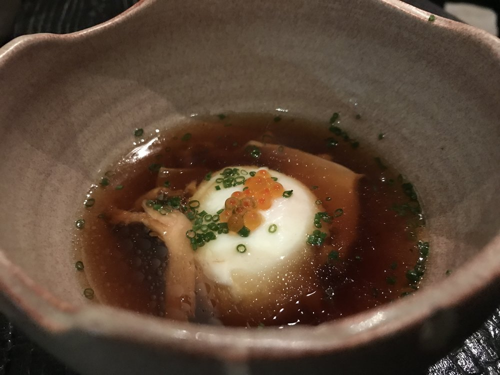 Onsen jidori egg - With shiitake soy sauce, ikura, and wasabi