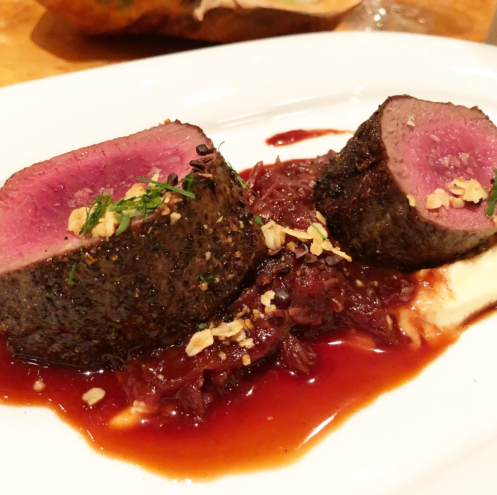 Venison Saddle - Braised Red Cabbage. Parsnip Puree. Cocoa Nibs. Toasted Oats.