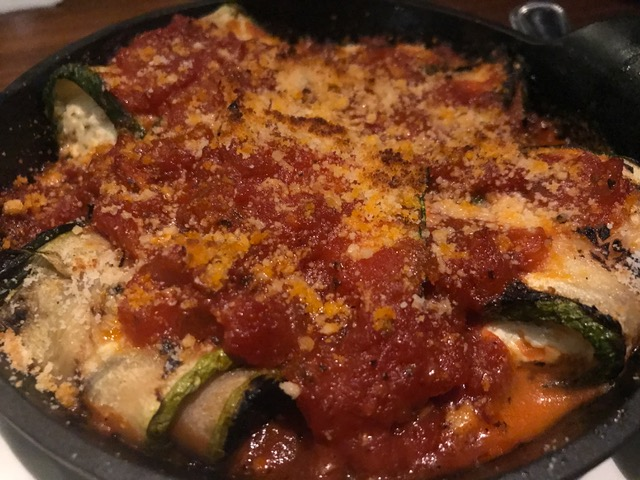 Stuffed Grilled Zucchini - herbed cheese, zesty tomato sauce, Parmesan