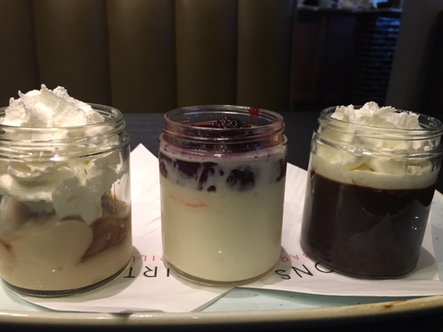 Trio of Puddings - Butterscotch, mascarpone with berries, chocolate