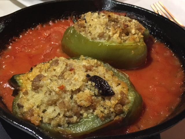 Peperoni Imbottiti - Stuffed pepper sweet Italian sausage, fried crusty bread, anchovies, orange zest, olives
