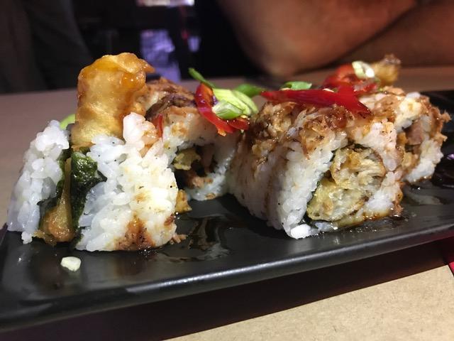 Fried Gator Roll - Tasso ham, cilantro, fresno chili, money sauce, green onion