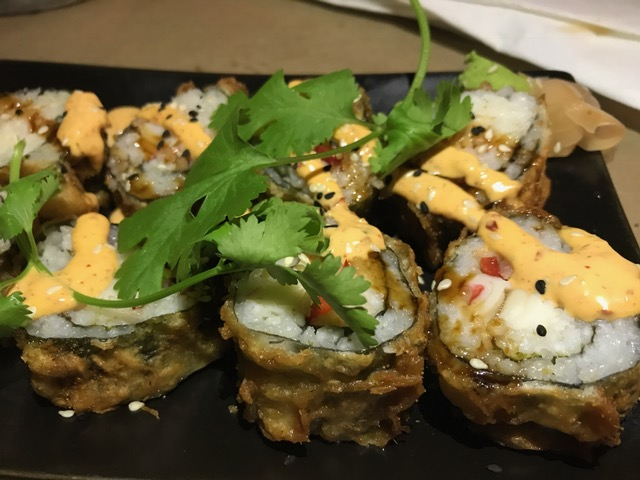 Cajun Fried Crab Roll - Cajun seasoning, money sauce, spicy mayo, green onion, goat cheese, cilantro, fresno chili