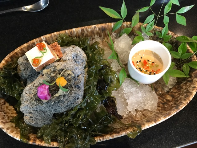Snacks - Seaweed tempurasweet potato cream, squid fermented in beetroot, lime gelSushi rice cracker, avocado, trout belly, ponzu gelAji negro chawanmushi